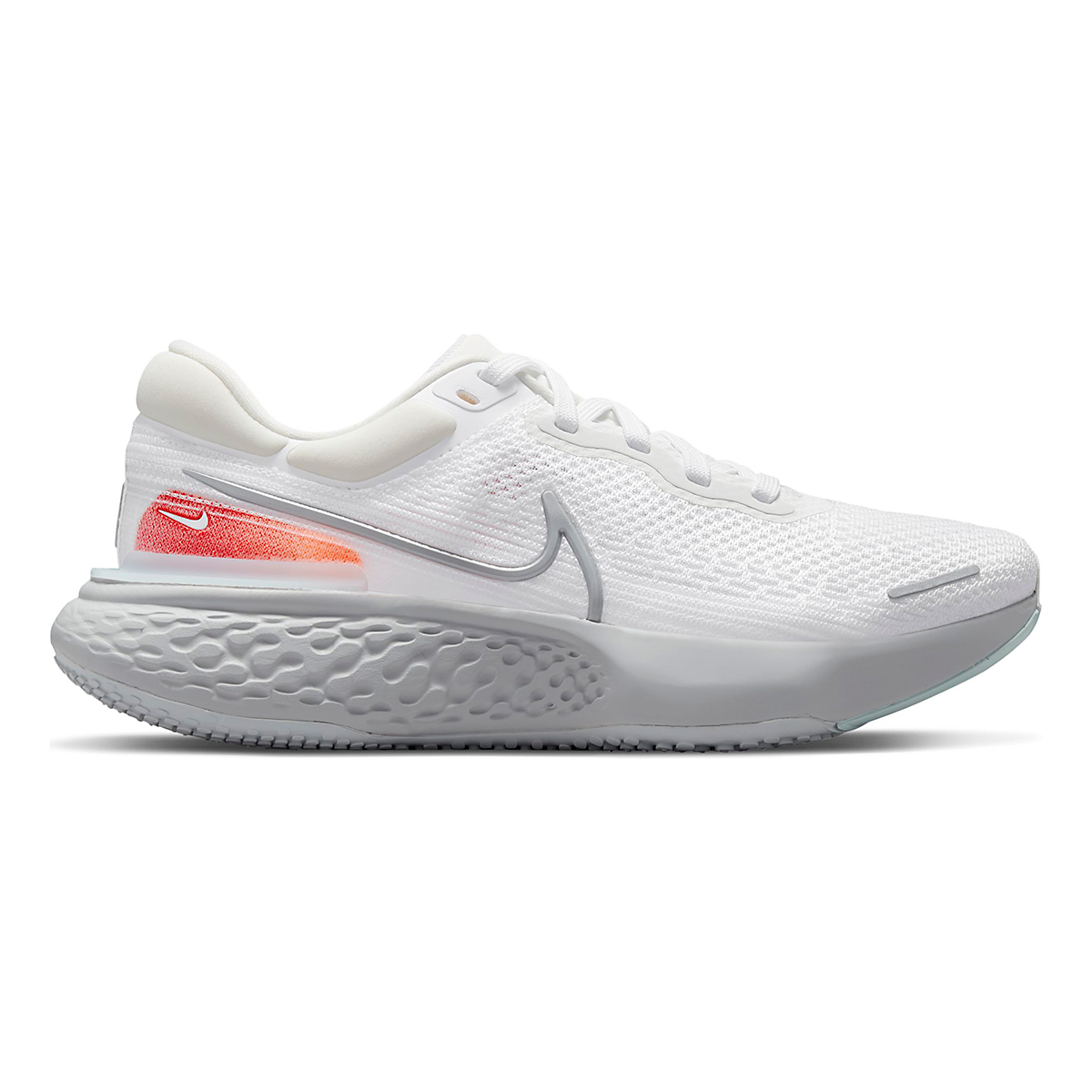 Men's Nike ZoomX Invincible Run Flyknit Running Shoe - Color: White/Metallic Silver/Pure Platinum - Size: 6 - Width: Regular, White/Metallic Silver/Pure Platinum, large, image 1