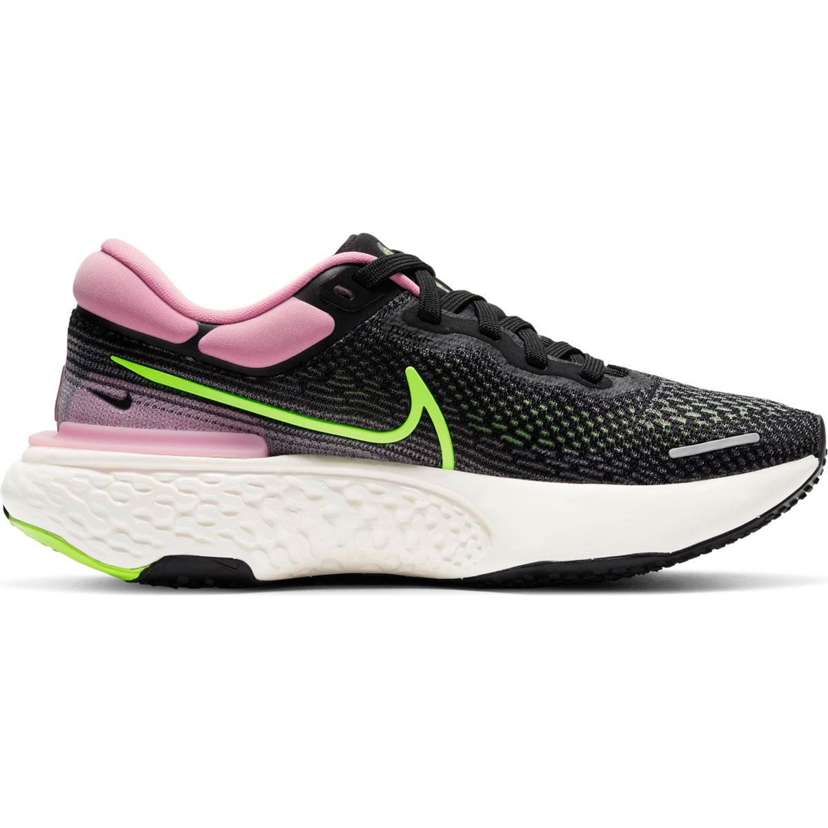 Women's Nike Zoomx Invincible Run FlyKnit Running Shoe - Color: Black/Cyber/Elemental Pink - Size: 6 - Width: Regular, Black/Cyber/Elemental Pink, large, image 1