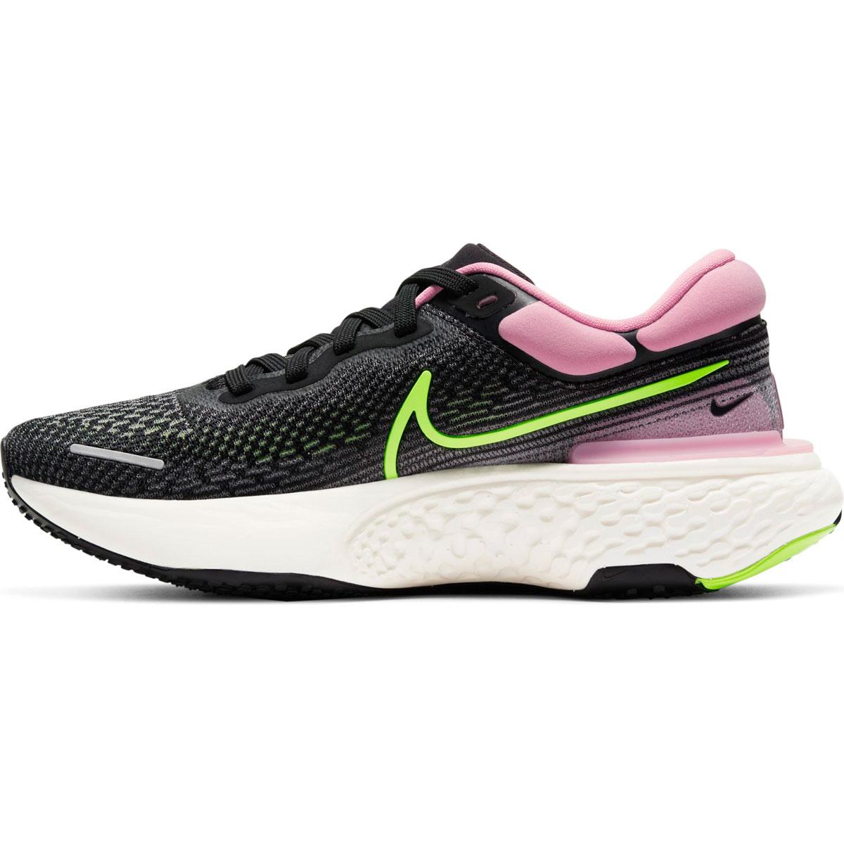 Women's Nike Zoomx Invincible Run FlyKnit Running Shoe - Color: Black/Cyber/Elemental Pink - Size: 6 - Width: Regular, Black/Cyber/Elemental Pink, large, image 2