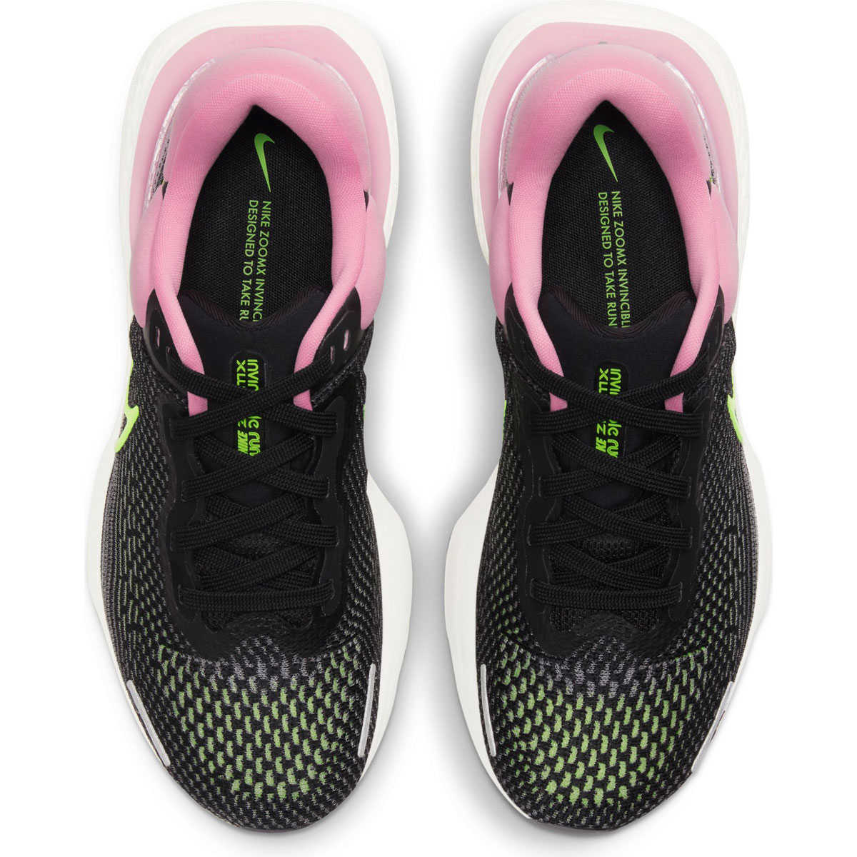 Women's Nike Zoomx Invincible Run FlyKnit Running Shoe - Color: Black/Cyber/Elemental Pink - Size: 6 - Width: Regular, Black/Cyber/Elemental Pink, large, image 3