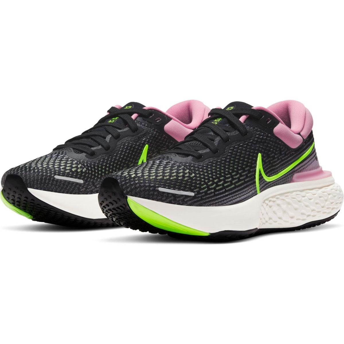 Women's Nike Zoomx Invincible Run FlyKnit Running Shoe - Color: Black/Cyber/Elemental Pink - Size: 6 - Width: Regular, Black/Cyber/Elemental Pink, large, image 4