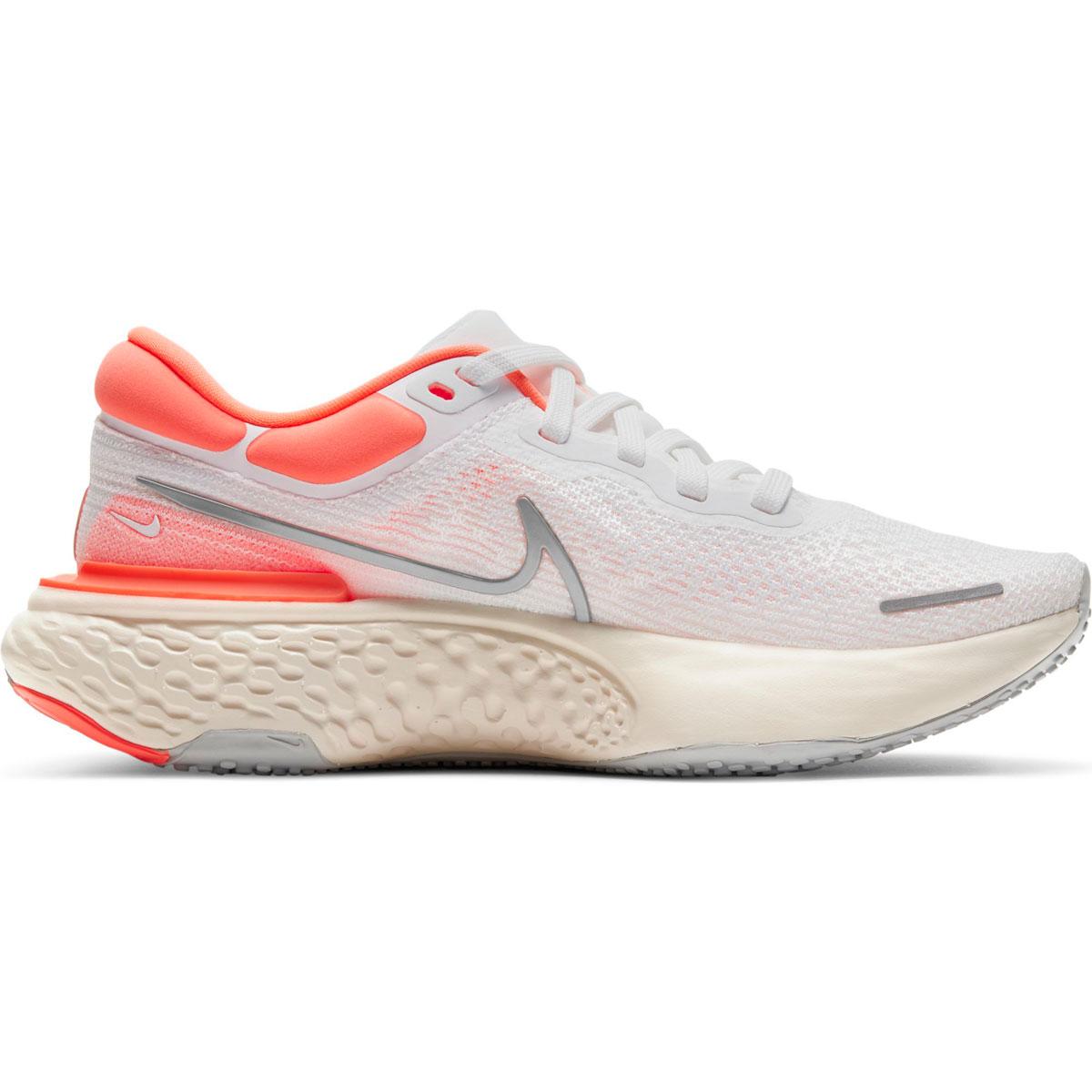 Women's Nike Zoomx Invincible Run FlyKnit Running Shoe - Color: White/Metallic Silver/Bright Mango - Size: 5 - Width: Regular, White/Metallic Silver/Bright Mango, large, image 1