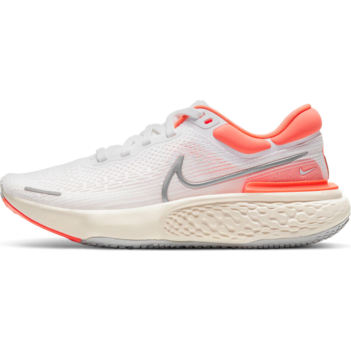Women's Nike Zoomx Invincible Run FlyKnit Running Shoe - Color: White/Metallic Silver/Bright Mango - Size: 5 - Width: Regular, White/Metallic Silver/Bright Mango, large, image 2