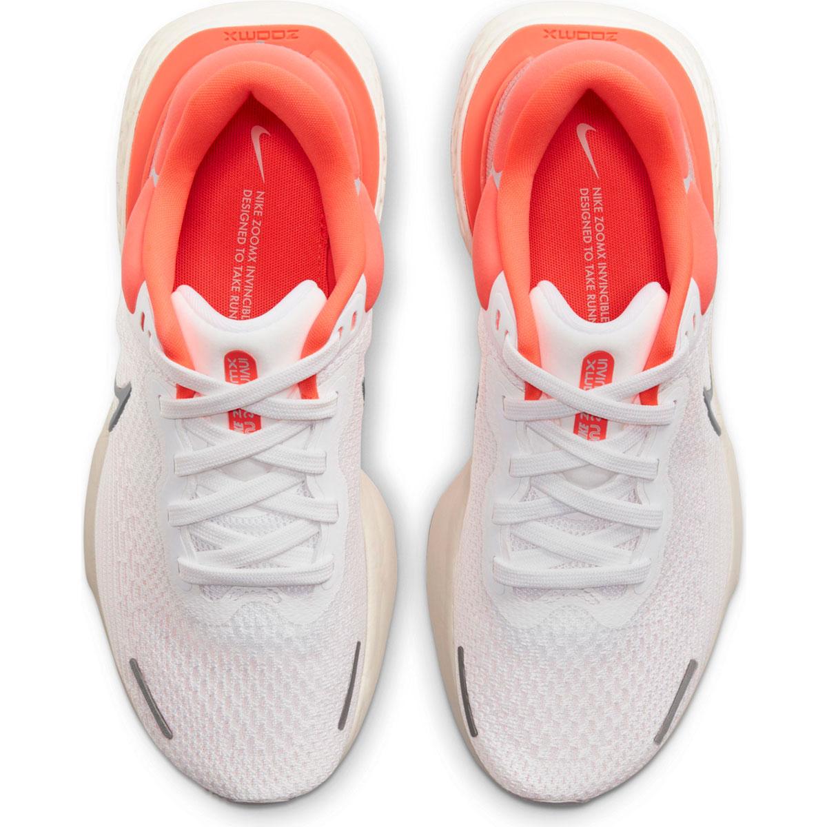 Women's Nike Zoomx Invincible Run FlyKnit Running Shoe - Color: White/Metallic Silver/Bright Mango - Size: 5 - Width: Regular, White/Metallic Silver/Bright Mango, large, image 3