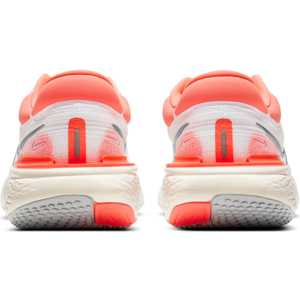 Women's Nike Zoomx Invincible Run FlyKnit Running Shoe - Color: White/Metallic Silver/Bright Mango - Size: 5 - Width: Regular, White/Metallic Silver/Bright Mango, large, image 4