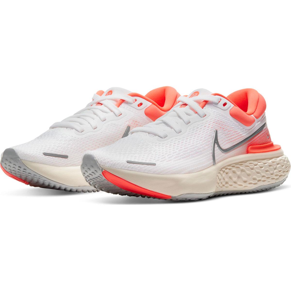 Women's Nike Zoomx Invincible Run FlyKnit Running Shoe - Color: White/Metallic Silver/Bright Mango - Size: 5 - Width: Regular, White/Metallic Silver/Bright Mango, large, image 5