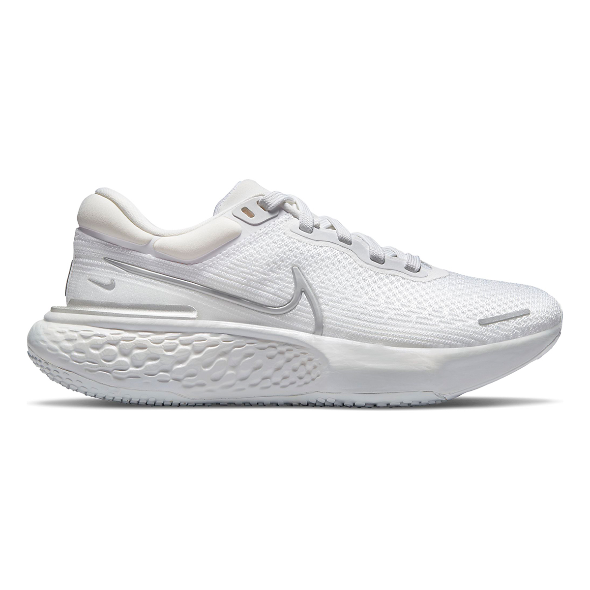 Women's Nike ZoomX Invincible Run Flyknit - Color: White/Metallic Silver/Pure Platinum - Size: 5 - Width: Regular, White/Metallic Silver/Pure Platinum, large, image 1