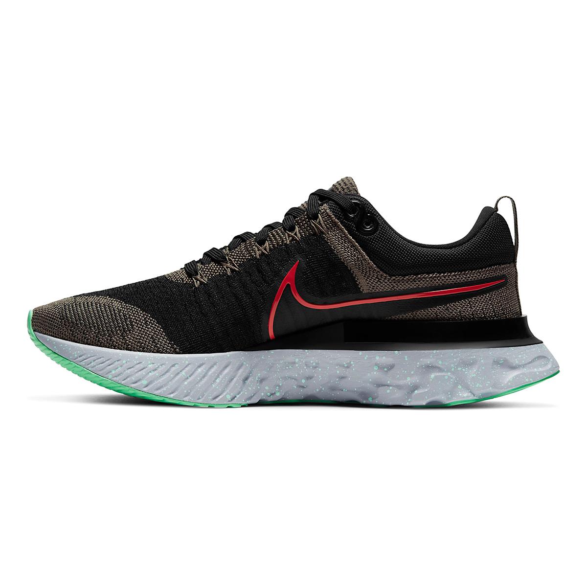 Men's Nike React Infinity Run Flyknit 2 Running Shoe - Color: Ridgerock/Chile Red/Black/Green Glow - Size: 6 - Width: Regular, Ridgerock/Chile Red/Black/Green Glow, large, image 2
