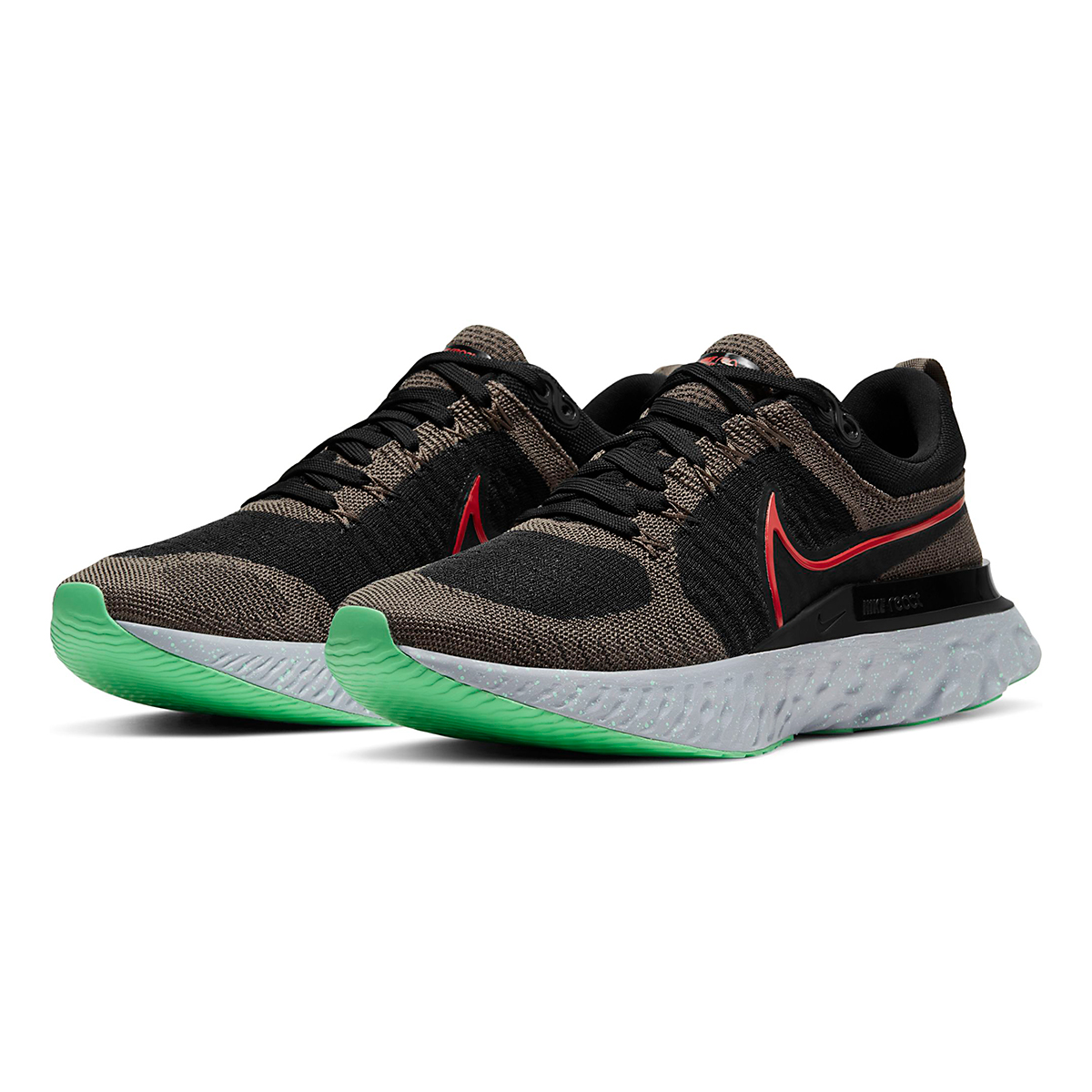 Men's Nike React Infinity Run Flyknit 2 Running Shoe - Color: Ridgerock/Chile Red/Black/Green Glow - Size: 6 - Width: Regular, Ridgerock/Chile Red/Black/Green Glow, large, image 4