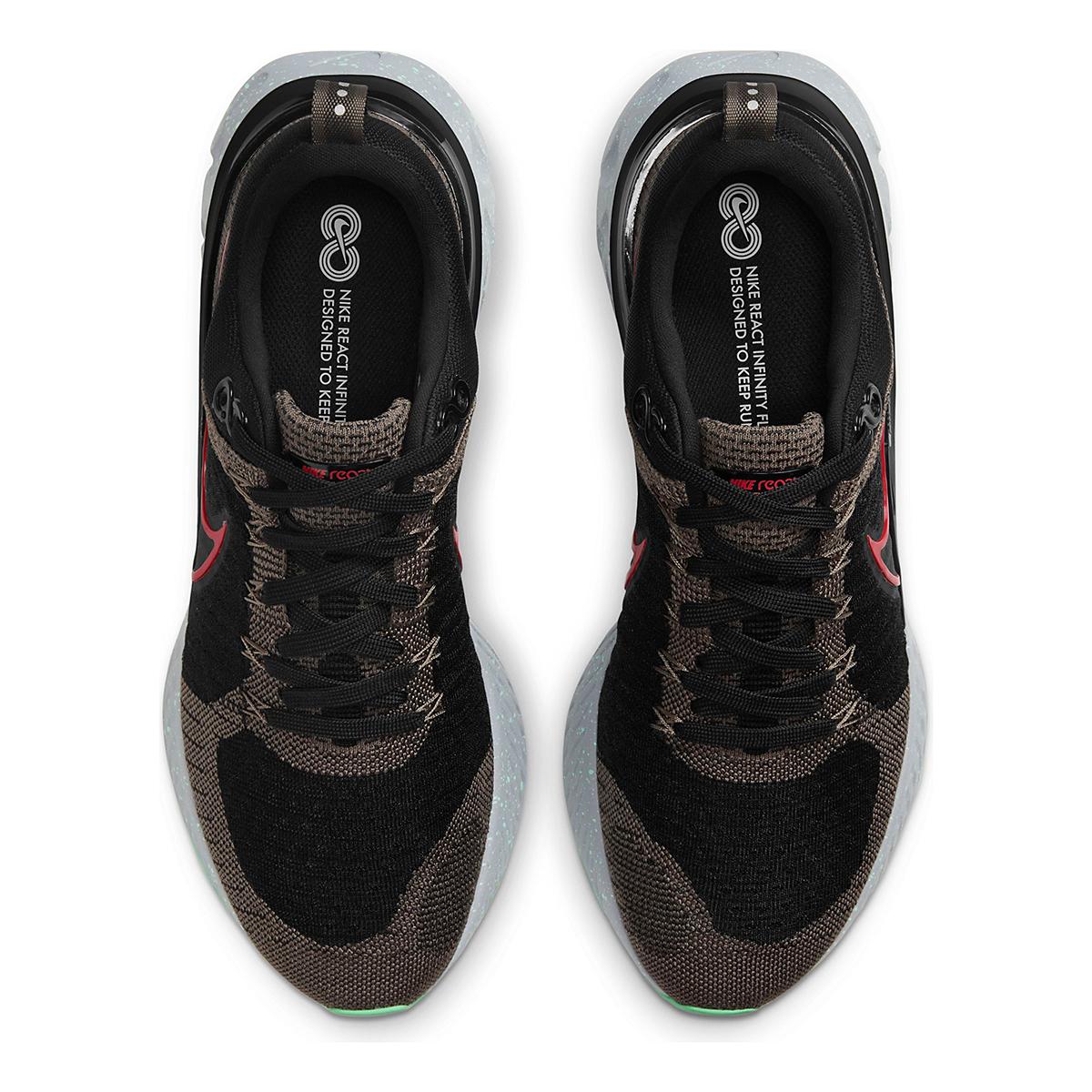 Men's Nike React Infinity Run Flyknit 2 Running Shoe - Color: Ridgerock/Chile Red/Black/Green Glow - Size: 6 - Width: Regular, Ridgerock/Chile Red/Black/Green Glow, large, image 6