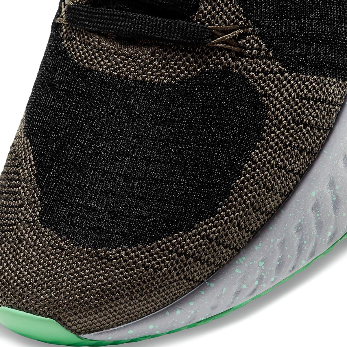 Men's Nike React Infinity Run Flyknit 2 Running Shoe - Color: Ridgerock/Chile Red/Black/Green Glow - Size: 6 - Width: Regular, Ridgerock/Chile Red/Black/Green Glow, large, image 7