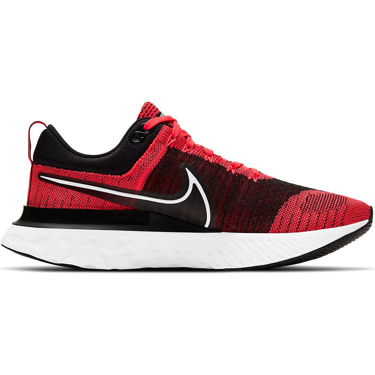 Men's Nike React Infinity Run Flyknit 2 Running Shoe - Color: Bright Crimson/White/Black/Smike Grey - Size: 6 - Width: Regular, Bright Crimson/White/Black/Smike Grey, large, image 1