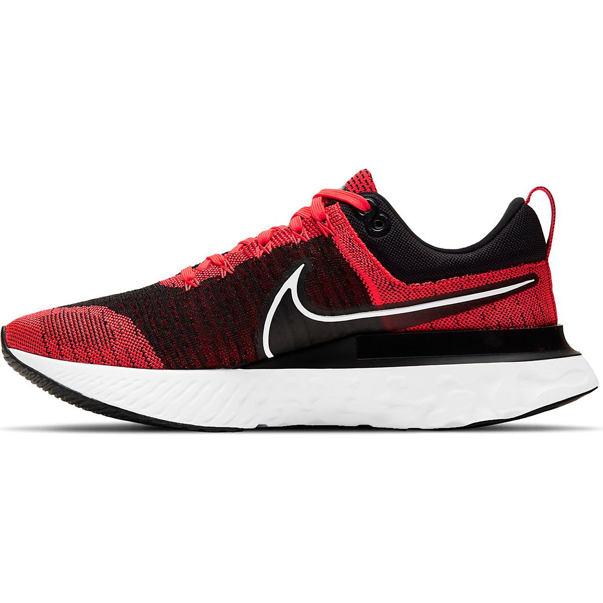 Men's Nike React Infinity Run Flyknit 2 Running Shoe - Color: Bright Crimson/White/Black/Smike Grey - Size: 6 - Width: Regular, Bright Crimson/White/Black/Smike Grey, large, image 2