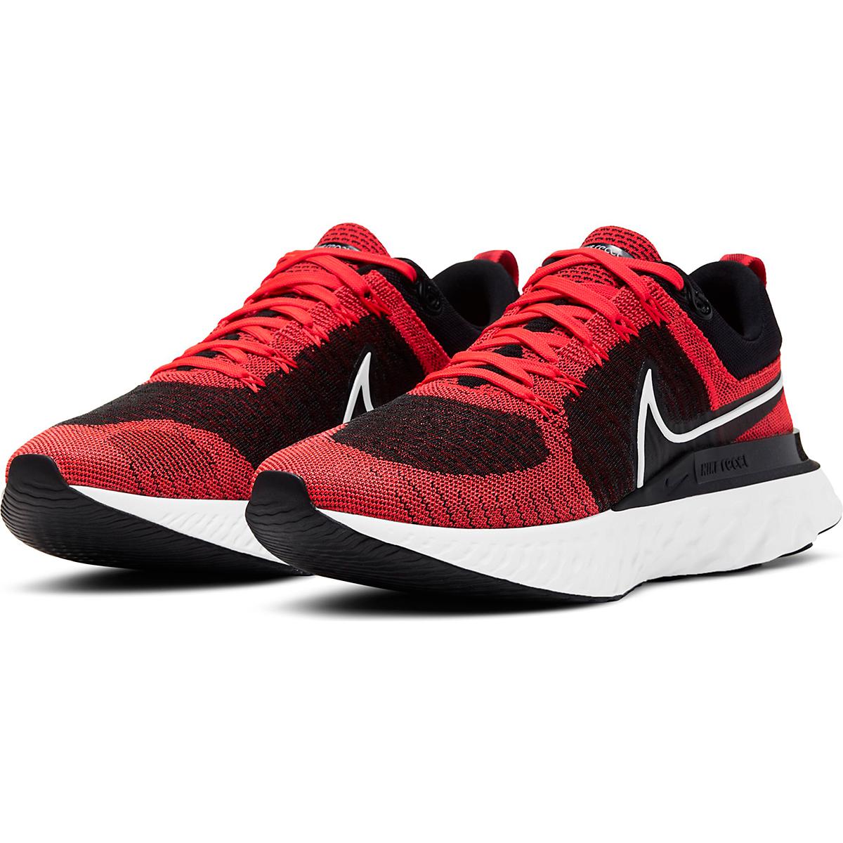 Men's Nike React Infinity Run Flyknit 2 Running Shoe - Color: Bright Crimson/White/Black/Smike Grey - Size: 6 - Width: Regular, Bright Crimson/White/Black/Smike Grey, large, image 3