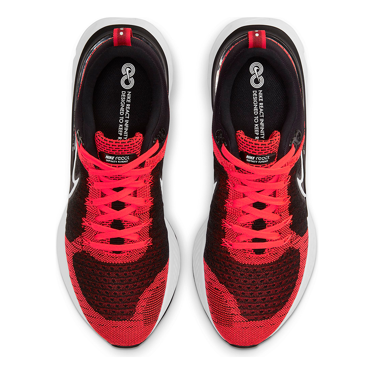 Men's Nike React Infinity Run Flyknit 2 Running Shoe - Color: Bright Crimson/White/Black/Smike Grey - Size: 6 - Width: Regular, Bright Crimson/White/Black/Smike Grey, large, image 5