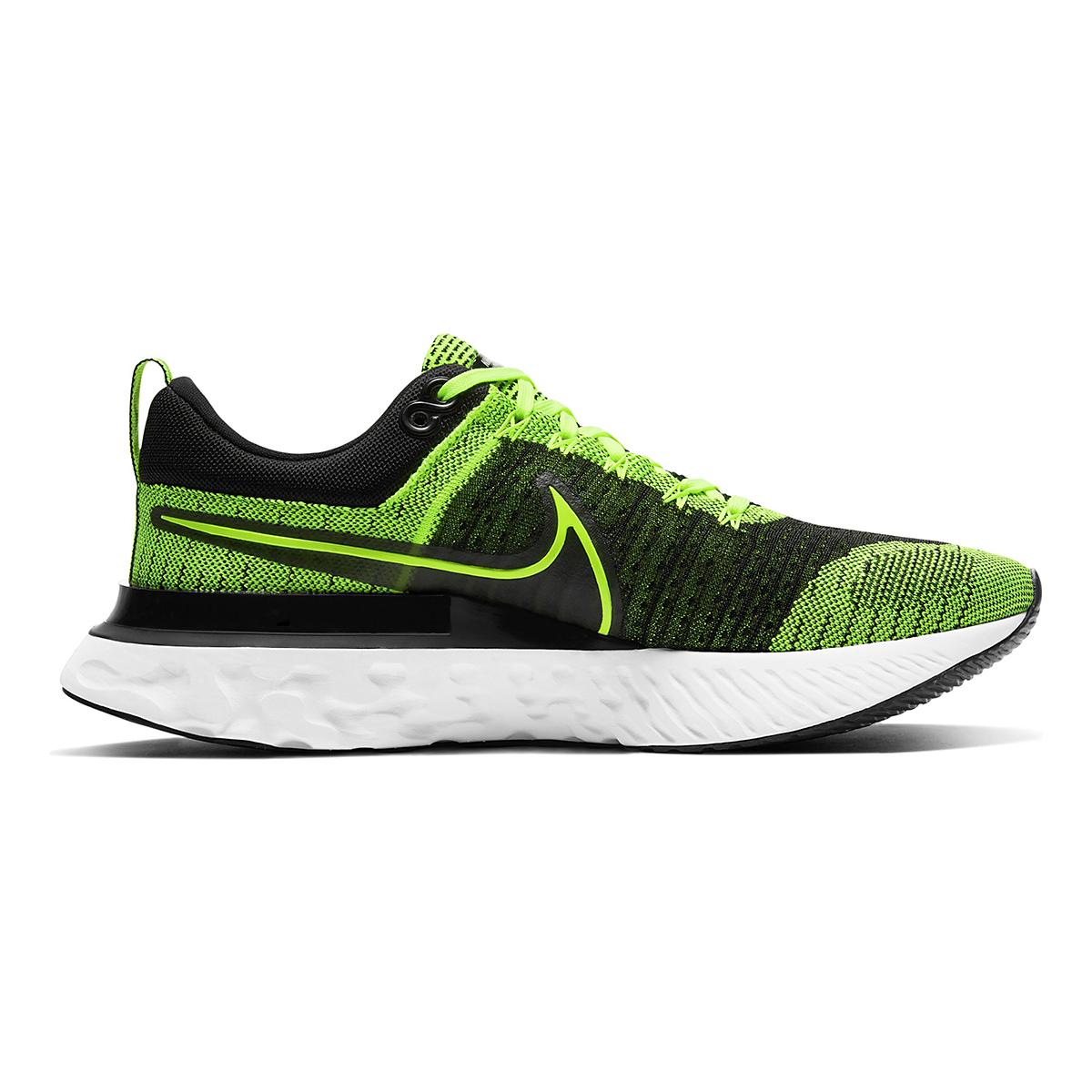 Men's Nike React Infinity Run Flyknit 2 Running Shoe - Color: Volt/Black - Size: 6 - Width: Regular, Volt/Black, large, image 1