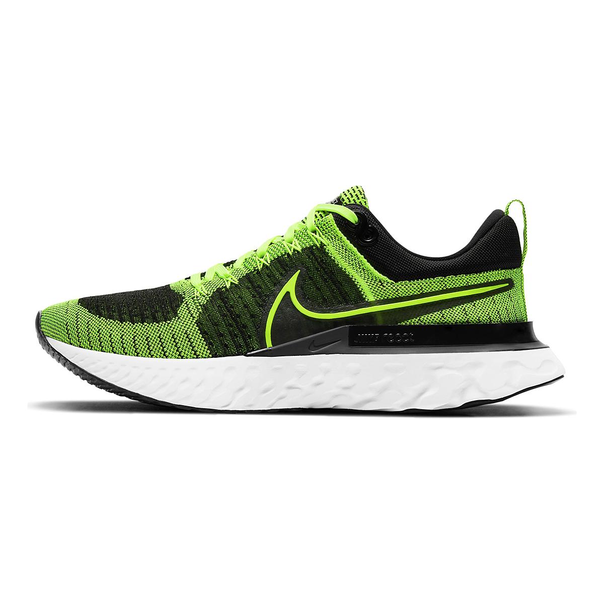 Men's Nike React Infinity Run Flyknit 2 Running Shoe - Color: Volt/Black - Size: 6 - Width: Regular, Volt/Black, large, image 2