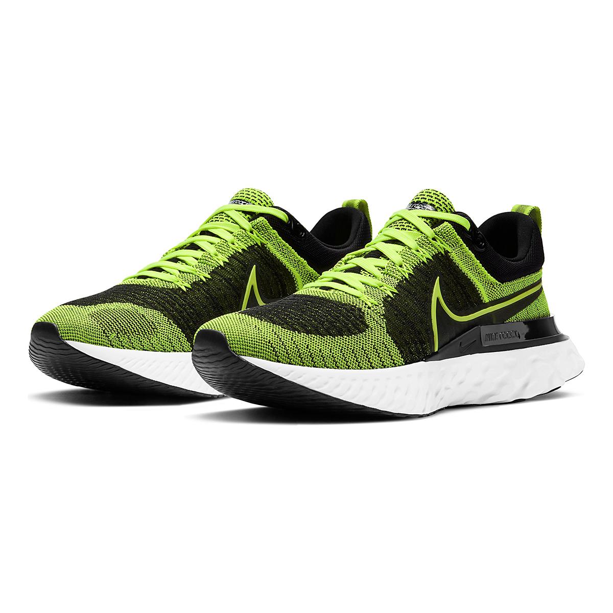 Men's Nike React Infinity Run Flyknit 2 Running Shoe - Color: Volt/Black - Size: 6 - Width: Regular, Volt/Black, large, image 3