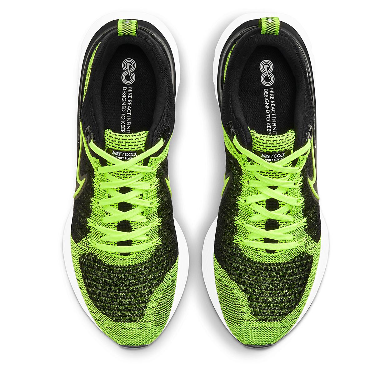 Men's Nike React Infinity Run Flyknit 2 Running Shoe - Color: Volt/Black - Size: 6 - Width: Regular, Volt/Black, large, image 7