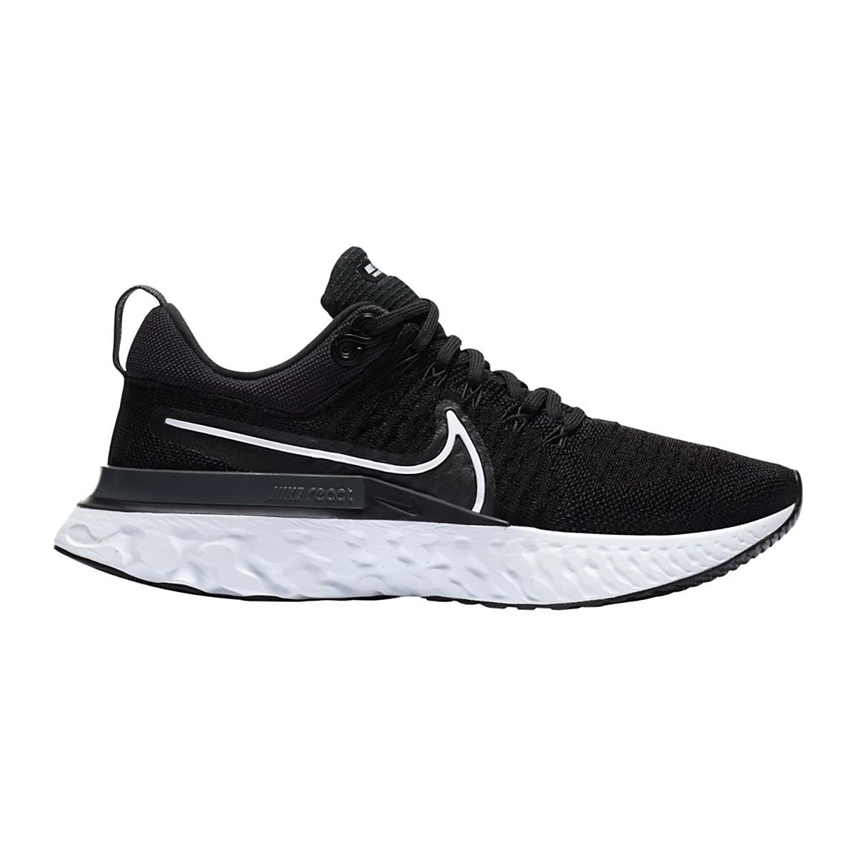 Women's Nike React Infinity Run Flyknit 2 Running Shoe - Color: Black/White/Iron Grey - Size: 5 - Width: Regular, Black/White/Iron Grey, large, image 1
