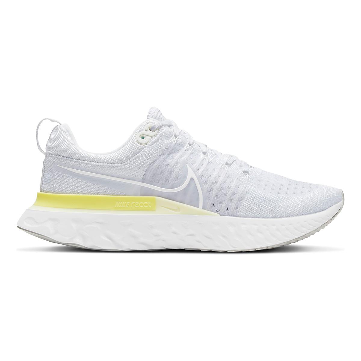 Women's Nike React Infinity Run Flyknit 2 Running Shoe - Color: White/White-Platinum Tint/Light Zitron - Size: 5 - Width: Regular, White/White-Platinum Tint/Light Zitron, large, image 1