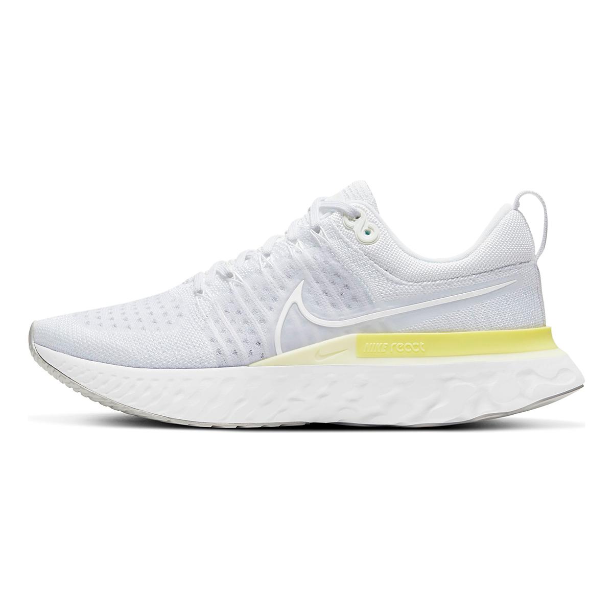 Women's Nike React Infinity Run Flyknit 2 Running Shoe - Color: White/White-Platinum Tint/Light Zitron - Size: 5 - Width: Regular, White/White-Platinum Tint/Light Zitron, large, image 2