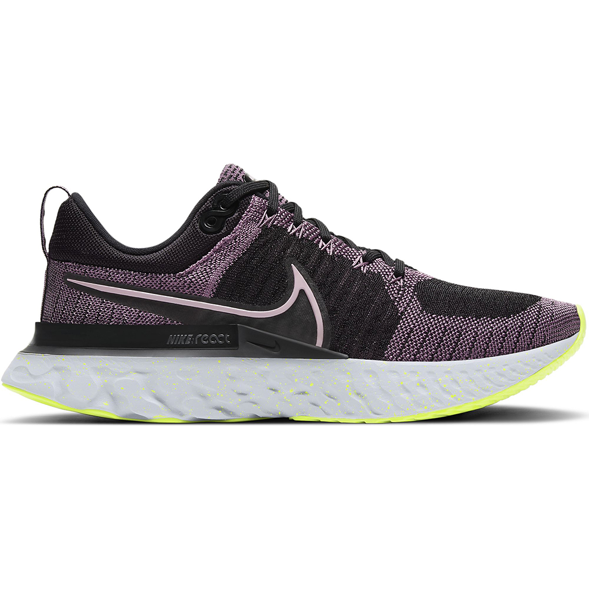 Women's Nike React Infinity Run Flyknit 2 Running Shoe - Color: Violet Dust/Elemental Pink/Black/Cyber - Size: 5.5 - Width: Regular, Violet Dust/Elemental Pink/Black/Cyber, large, image 1