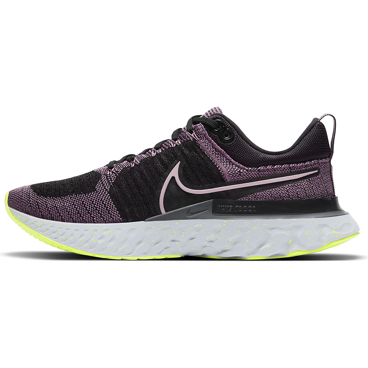 Women's Nike React Infinity Run Flyknit 2 Running Shoe - Color: Violet Dust/Elemental Pink/Black/Cyber - Size: 5.5 - Width: Regular, Violet Dust/Elemental Pink/Black/Cyber, large, image 2