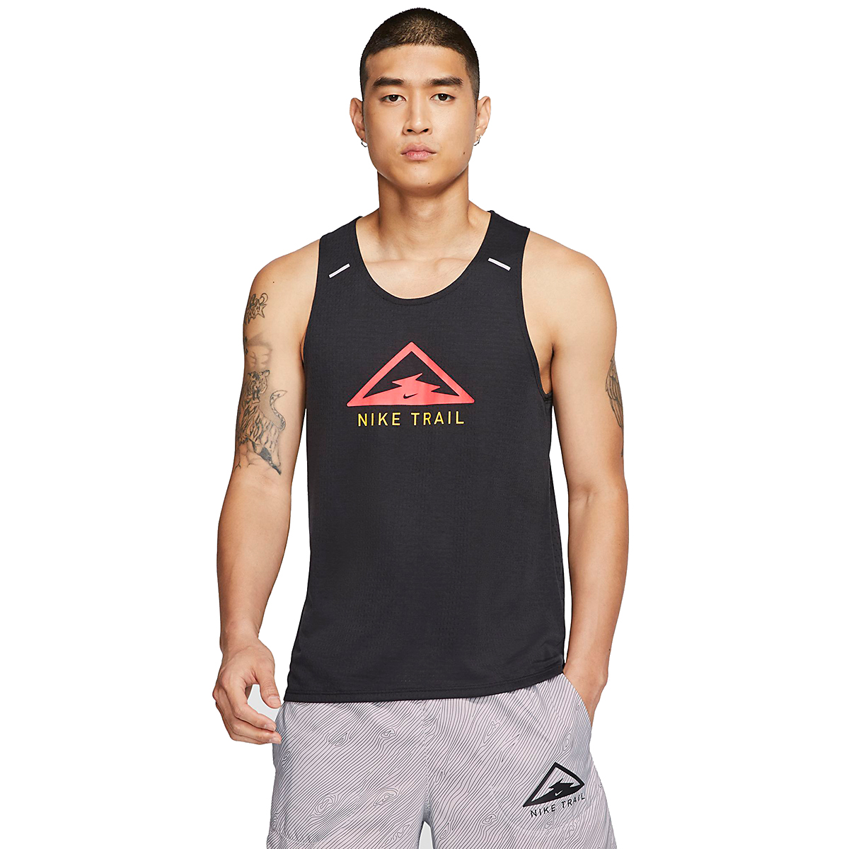 Men's Nike Rise 365 Trail Running Tank - Color: Black/Laser Crimson - Size: S, Black/Laser Crimson, large, image 1