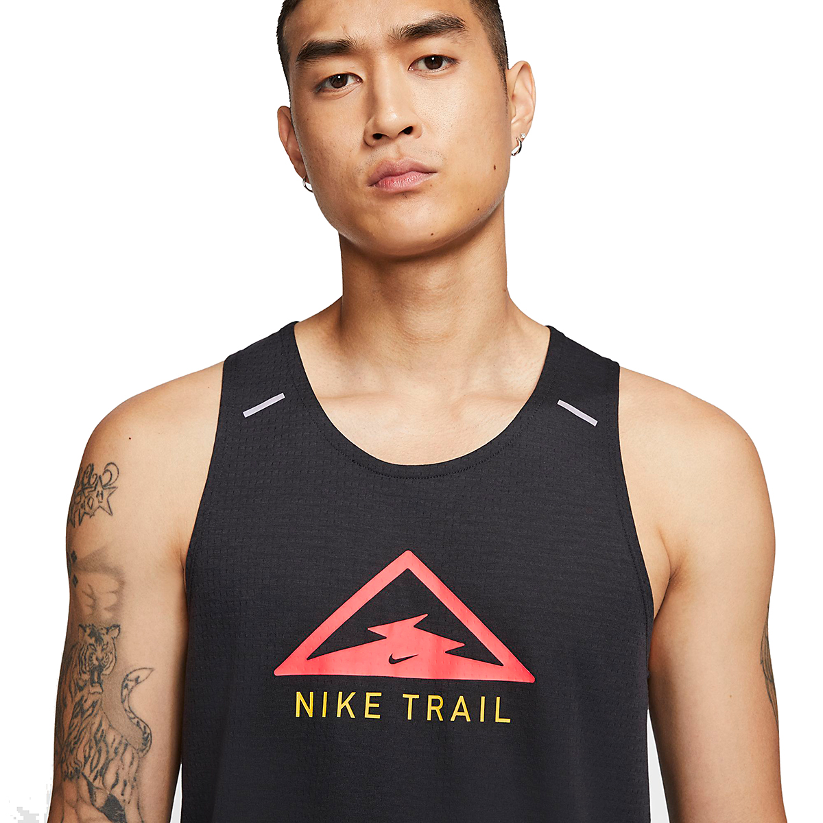 Men's Nike Rise 365 Trail Running Tank - Color: Black/Laser Crimson - Size: S, Black/Laser Crimson, large, image 3