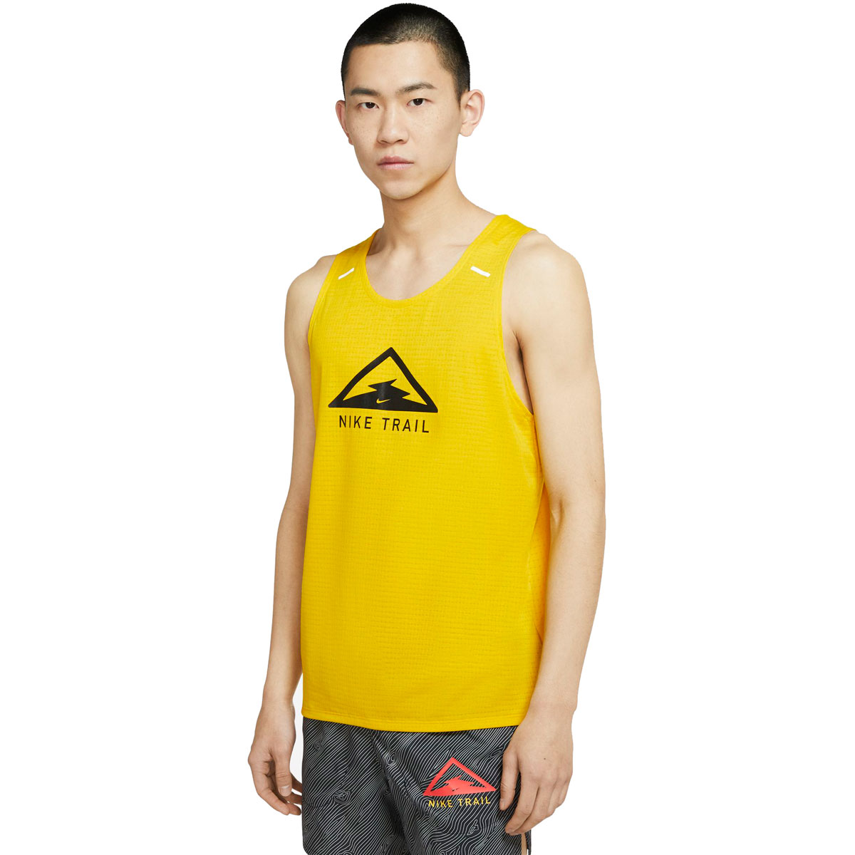 Men's Nike Rise 365 Trail Running Tank - Color: Speed Yellow/Black - Size: S, Speed Yellow/Black, large, image 1