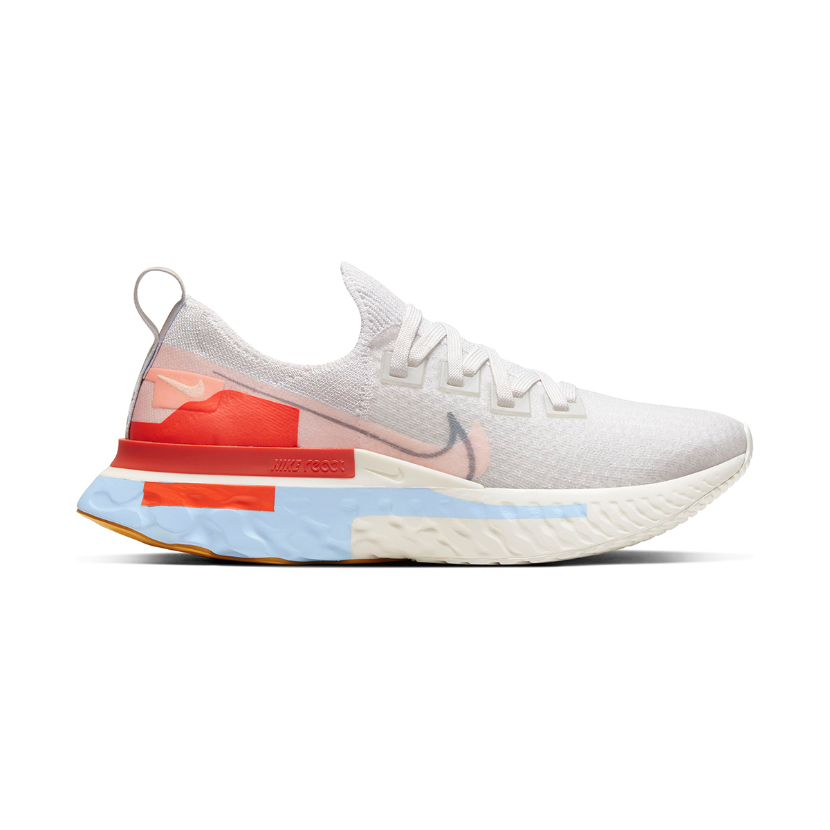 Women's Nike React Infinity Run Flyknit Running Shoe - Color: Platinum Tint/Washed Coral - Size: 5 - Width: Regular, Platinum Tint/Washed Coral, large, image 1