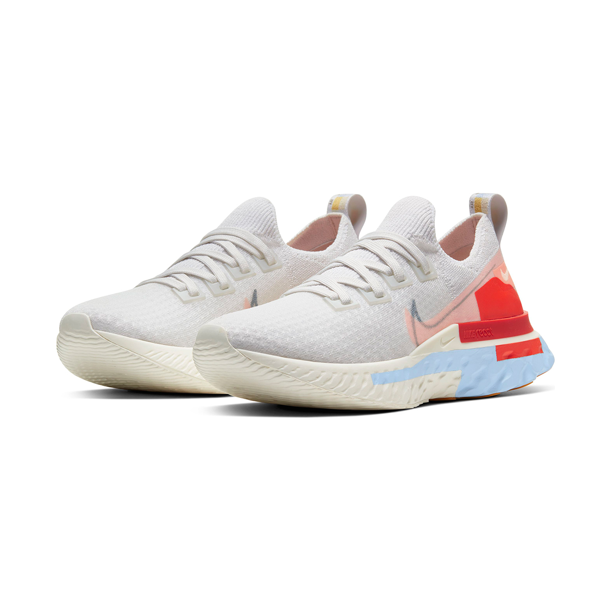 Women's Nike React Infinity Run Flyknit Running Shoe - Color: Platinum Tint/Washed Coral - Size: 5 - Width: Regular, Platinum Tint/Washed Coral, large, image 4