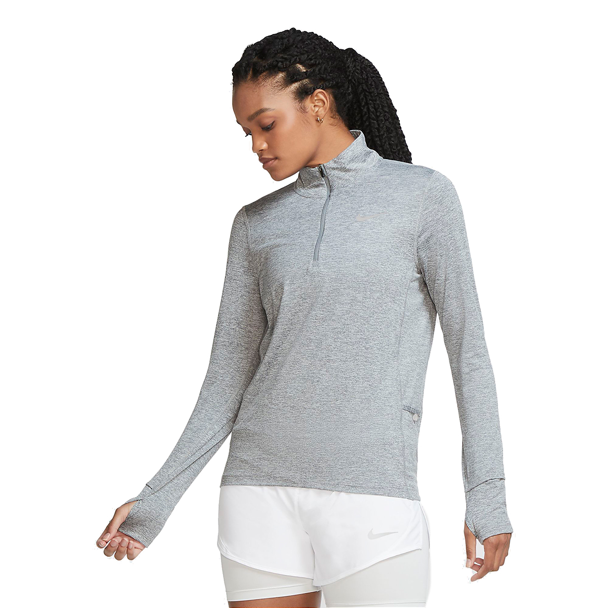 Women's Nike Womens Element 1/2-Zip Running Top - Color: Smoke Grey/Reflective Silver - Size: XS, Smoke Grey/Reflective Silver, large, image 3