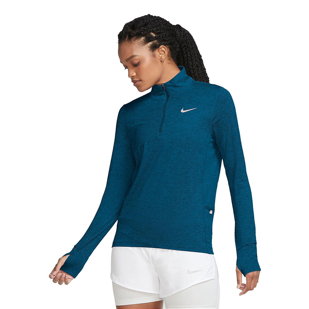 Women's Nike Nike Element 1/2-Zip Running Top - Color: Deep Ocean/Green - Size: XS, Deep Ocean/Green, large, image 1