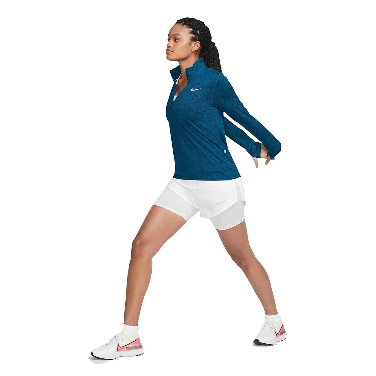 Women's Nike Nike Element 1/2-Zip Running Top - Color: Deep Ocean/Green - Size: XS, Deep Ocean/Green, large, image 3