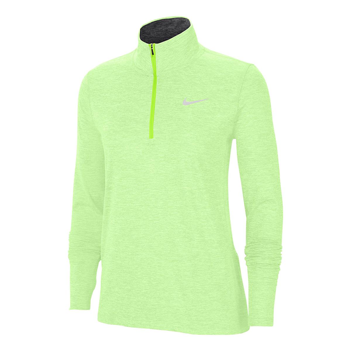 Women's Nike Element Top 1/2 Zip Long Sleeve - Color: Volt/Barely Volt/Htr/Reflective Silver - Size: XS, Volt/Barely Volt/Htr/Reflective Silver, large, image 1