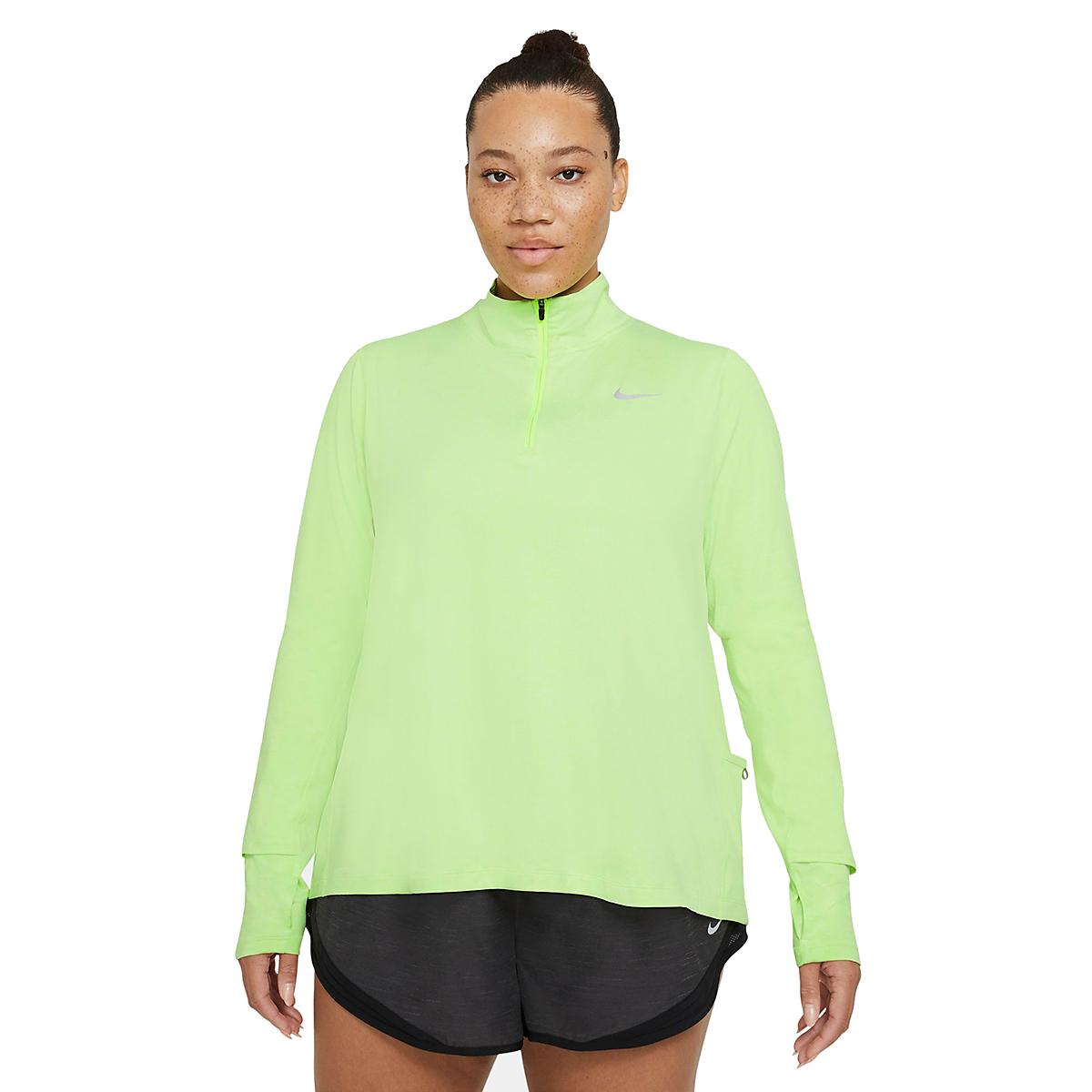 Women's Nike Element Top 1/2 Zip Long Sleeve - Color: Volt/Barely Volt/Htr/Reflective Silver - Size: XS, Volt/Barely Volt/Htr/Reflective Silver, large, image 2