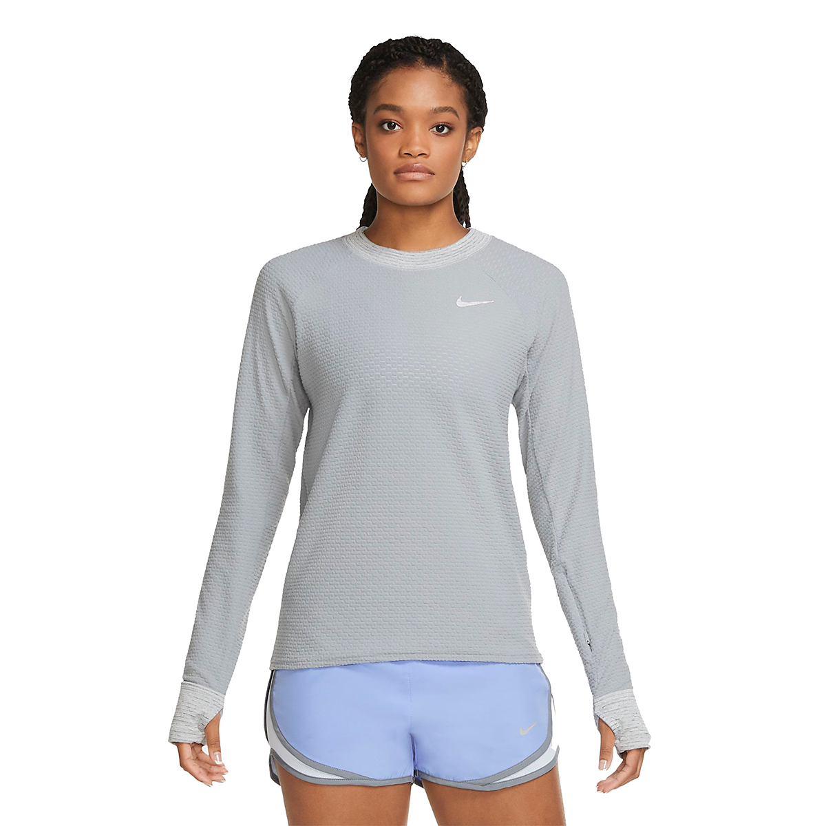 Women's Nike Sphere Crew Long Sleeve Shirt - Color: Particle Grey/Reflective Silver - Size: XS, Particle Grey/Reflective Silver, large, image 3