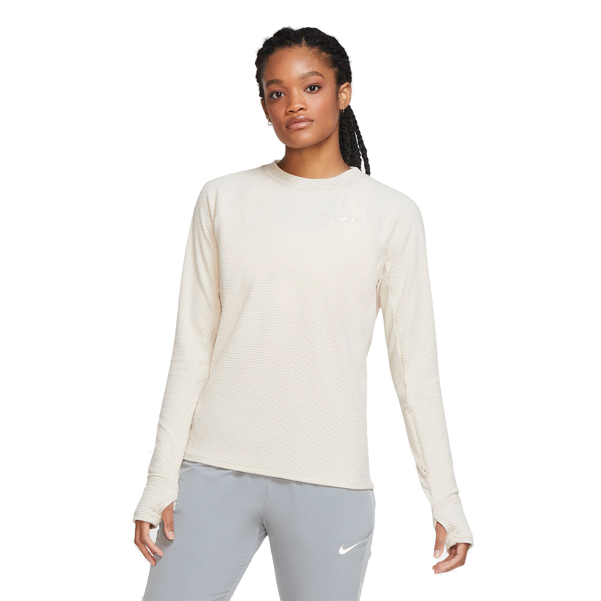 Women's Nike Sphere Crew Long Sleeve Shirt - Color: Oatmeal/Heather - Size: XS, Oatmeal/Heather, large, image 1