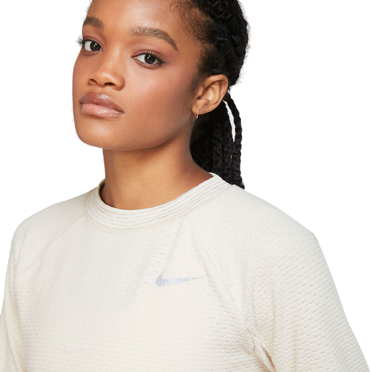Women's Nike Sphere Crew Long Sleeve Shirt - Color: Oatmeal/Heather - Size: XS, Oatmeal/Heather, large, image 3