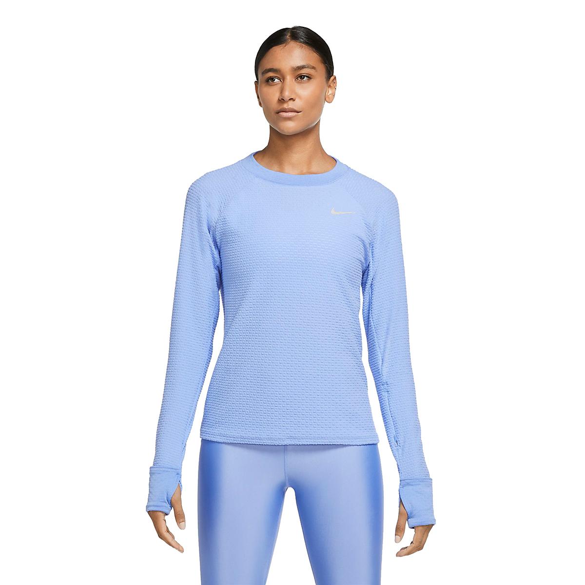 Women's Nike Sphere Crew Long Sleeve Shirt - Color: Royal Pulse/Reflective Silver - Size: XS, Royal Pulse/Reflective Silver, large, image 3
