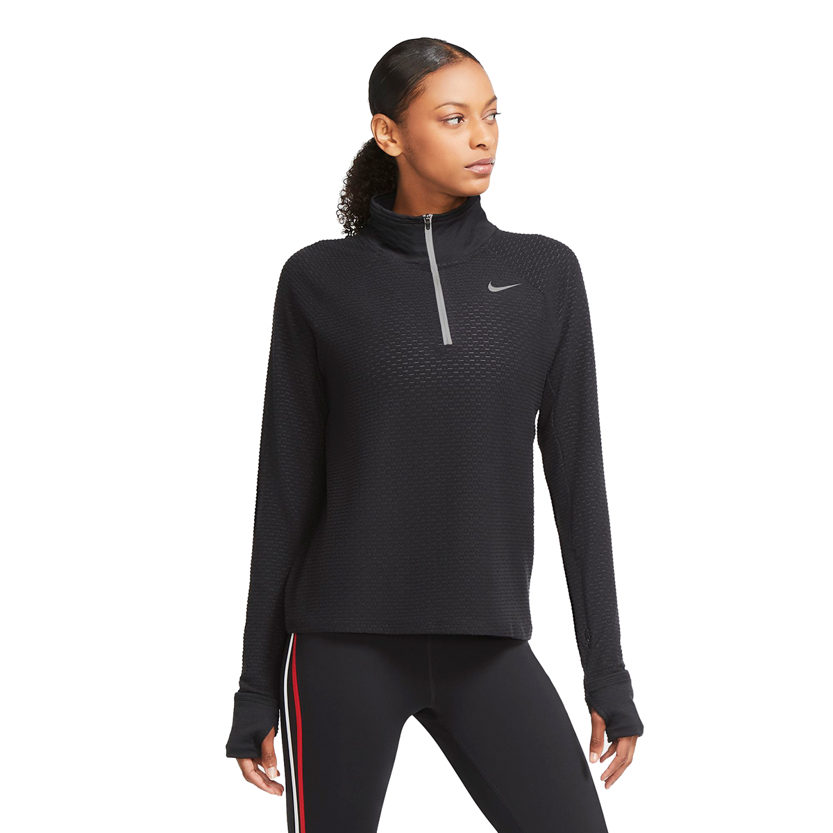 Women's Nike Sphere Half Zip Long Sleeve Shirt - Color: Black - Size: XS, Black, large, image 1