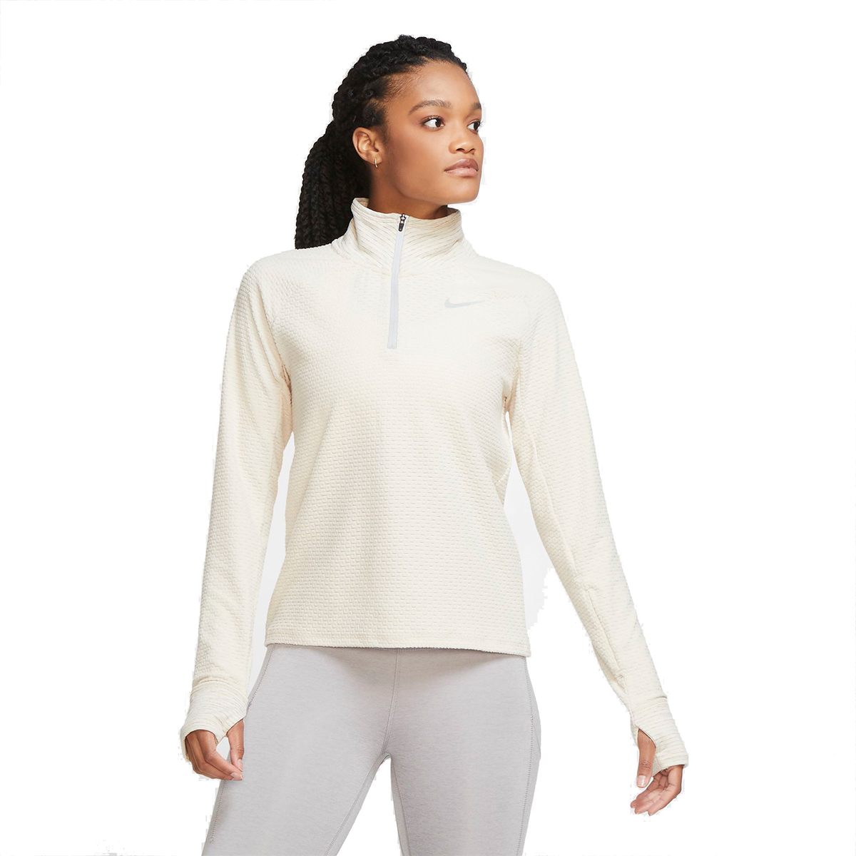 Women's Nike Sphere Half Zip Long Sleeve Shirt - Color: Oatmeal/Heather - Size: XS, Oatmeal/Heather, large, image 1