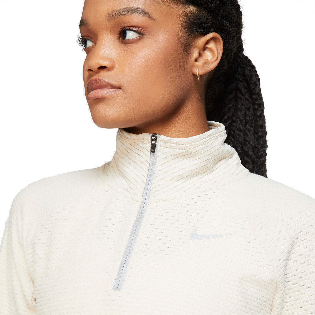 Women's Nike Sphere Half Zip Long Sleeve Shirt - Color: Oatmeal/Heather - Size: XS, Oatmeal/Heather, large, image 2