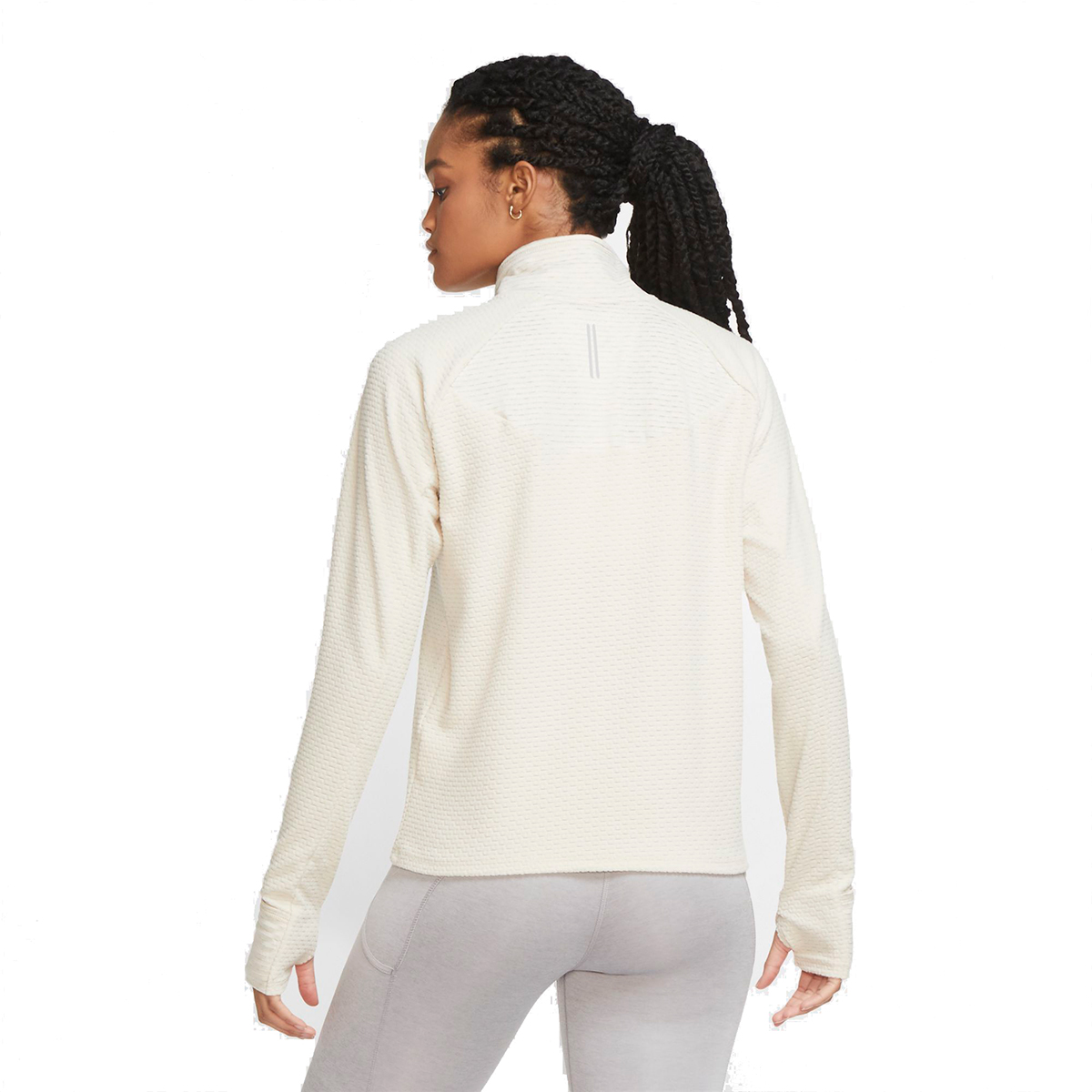 Women's Nike Sphere Half Zip Long Sleeve Shirt - Color: Oatmeal/Heather - Size: XS, Oatmeal/Heather, large, image 3