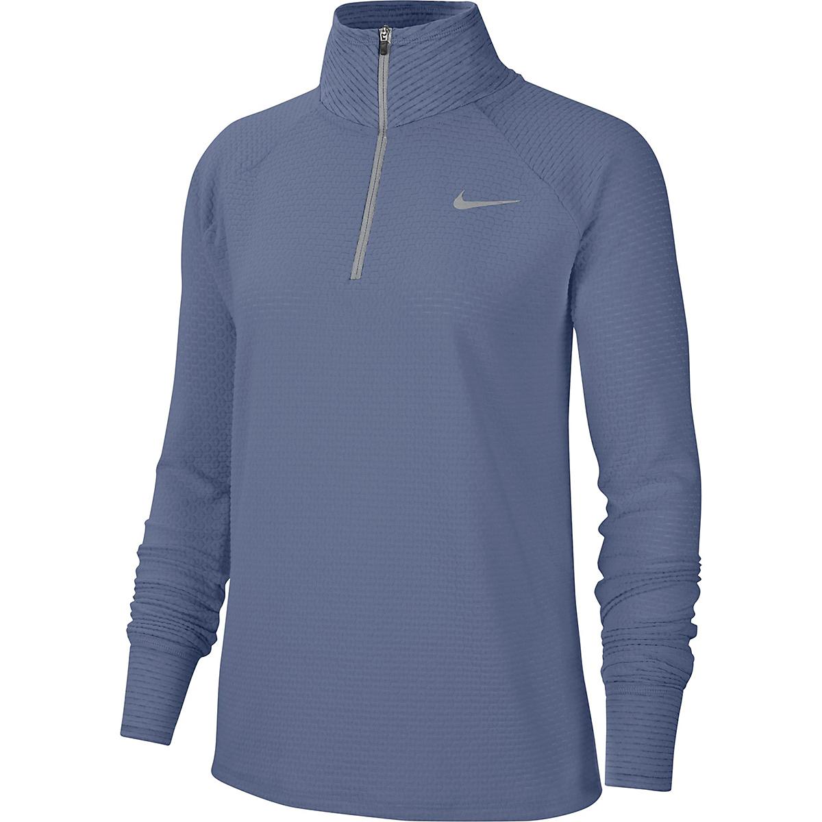Women's Nike Sphere Half Zip Long Sleeve Shirt - Color: World Indigo/Reflective Silver - Size: XS, World Indigo/Reflective Silver, large, image 1