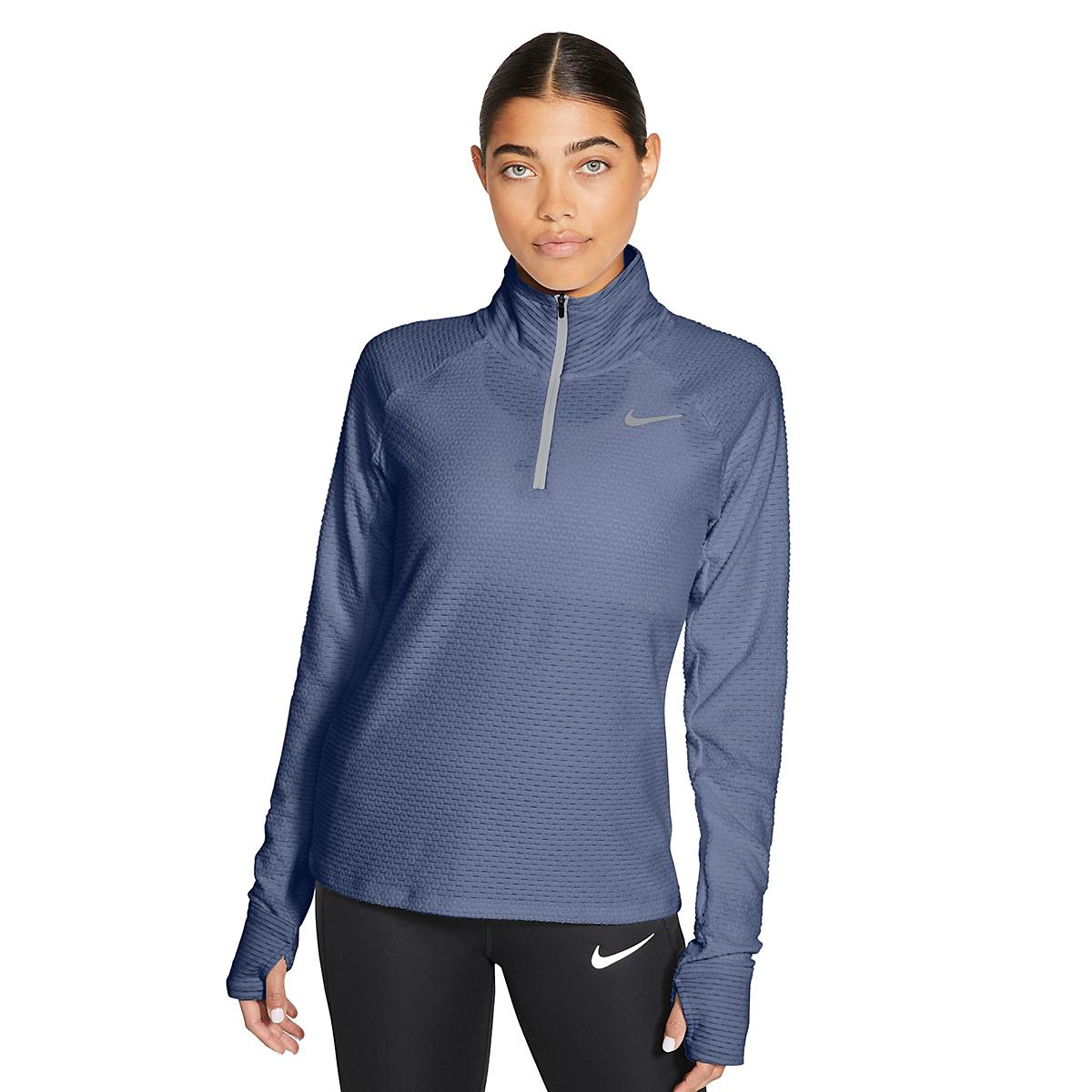 Women's Nike Sphere Half Zip Long Sleeve Shirt - Color: World Indigo/Reflective Silver - Size: XS, World Indigo/Reflective Silver, large, image 3