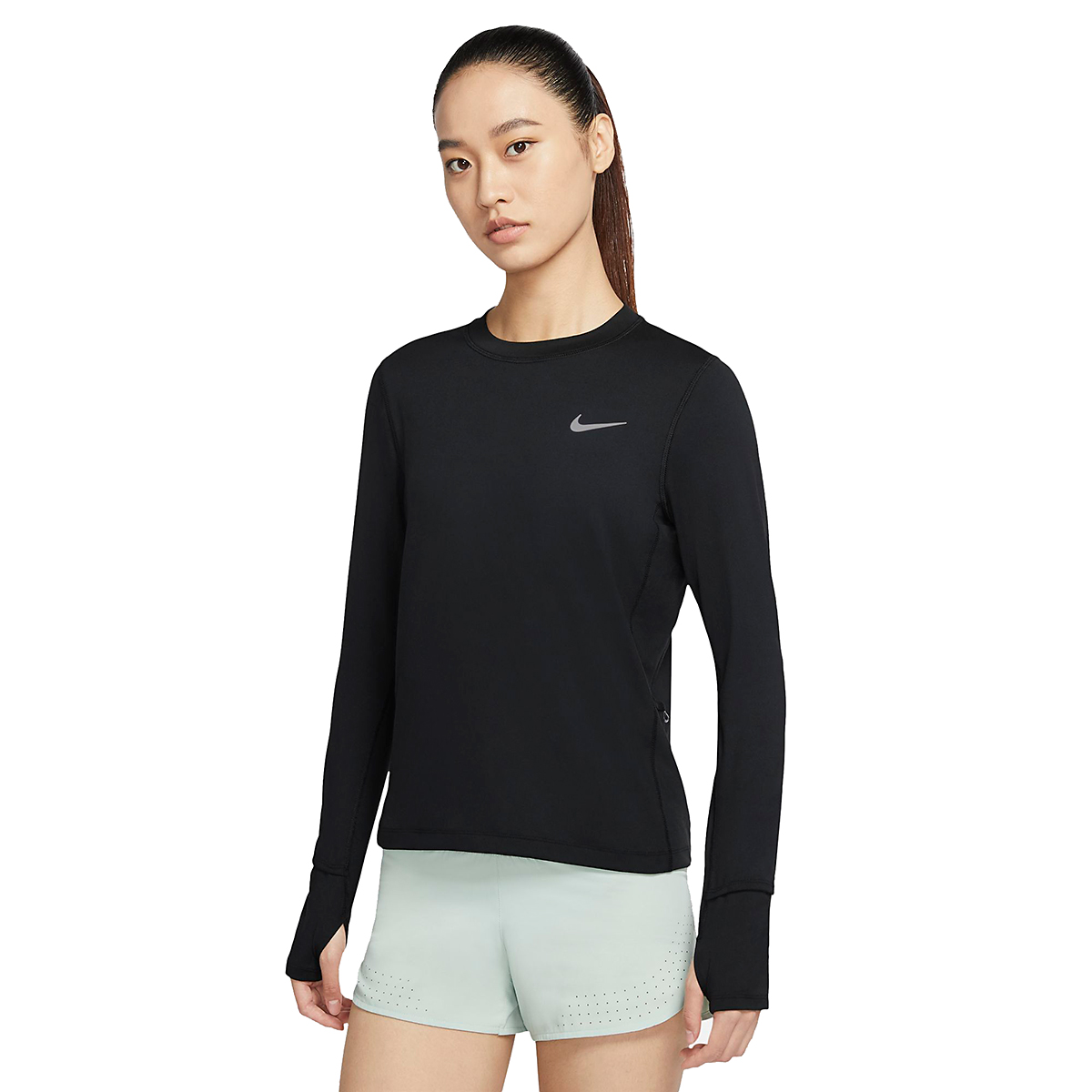 Women's Nike Element Crew Long Sleeve - Color: Black/Reflective Silver - Size: XS, Black/Reflective Silver, large, image 1