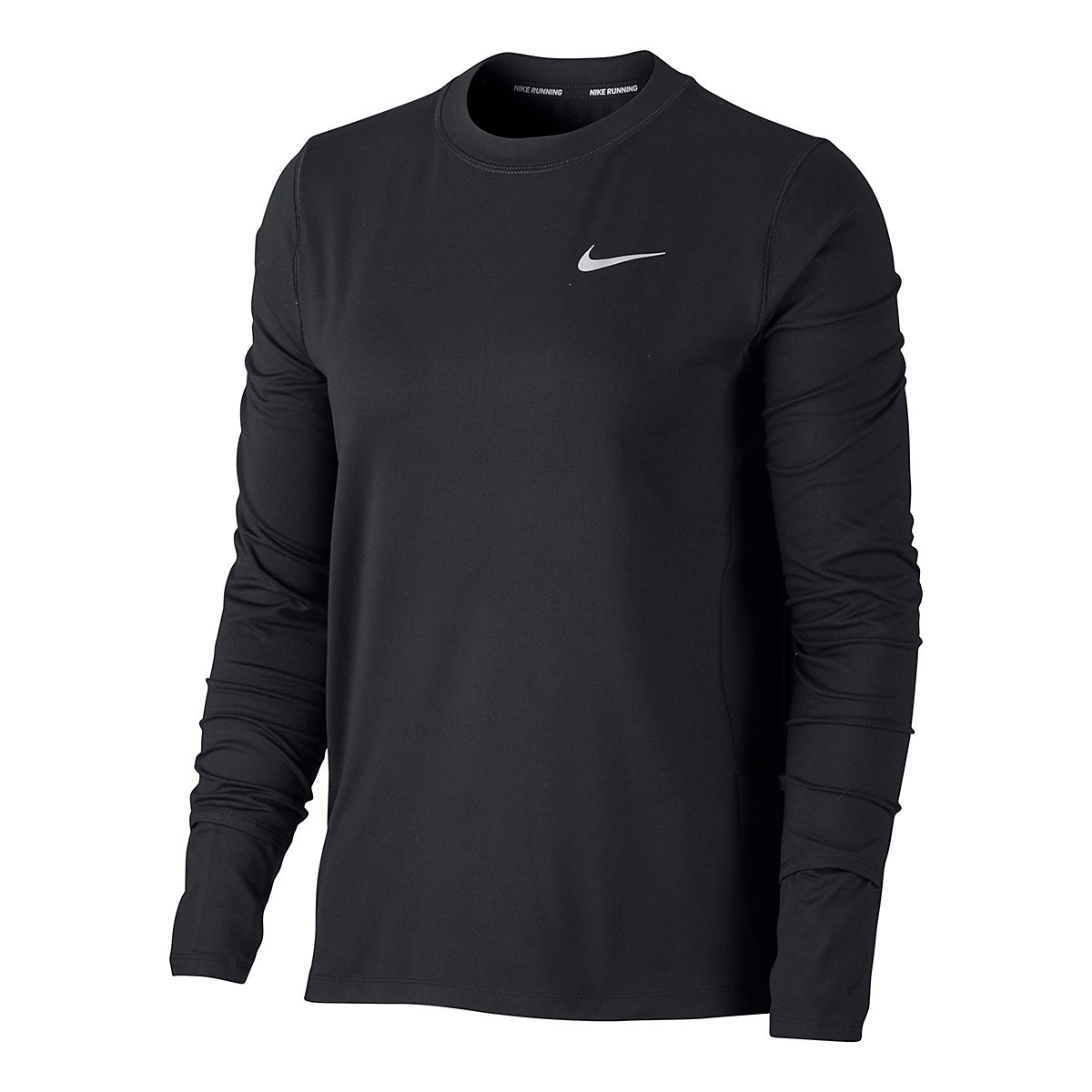 Women's Nike Element Crew Long Sleeve - Color: Black/Reflective Silver - Size: XS, Black/Reflective Silver, large, image 2